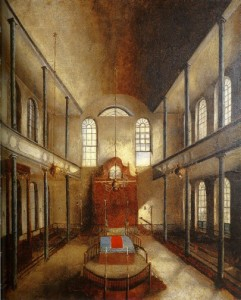 Kahal Kadosh Beth Elohim Synagogue in Charleston, S.C,, painting by Solomon Nunes Carvalho, 1838